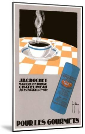 Pour Les Gourmets Coffee, Cup on Tablecloth-Found Image Press-Mounted Giclee Print