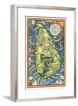 Map of Ceylon Tea Industry Sites-Found Image Press-Framed Giclee Print