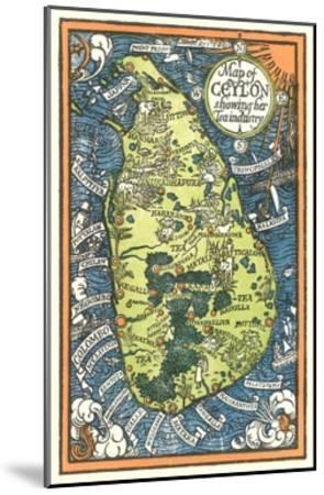 Map of Ceylon Tea Industry Sites-Found Image Press-Mounted Giclee Print