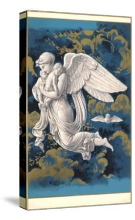 Night Angel with Children-Found Image Press-Stretched Canvas Print