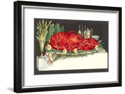 Huge Lobster on Serving Platter-Found Image Press-Framed Giclee Print