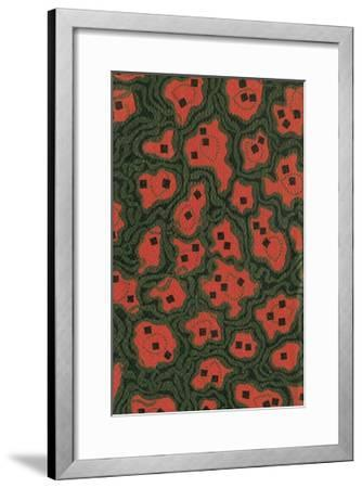 Red Shapes Surrounded by Green-Found Image Press-Framed Giclee Print