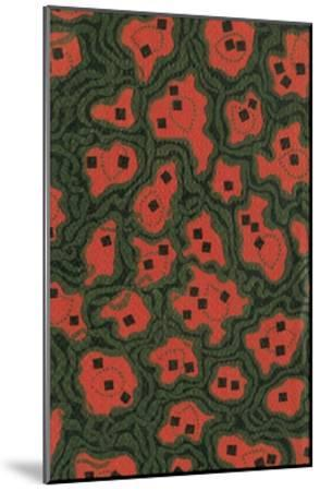 Red Shapes Surrounded by Green-Found Image Press-Mounted Giclee Print