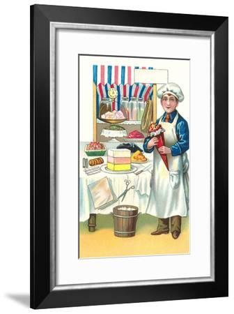 Boy with Various Desserts-Found Image Press-Framed Giclee Print