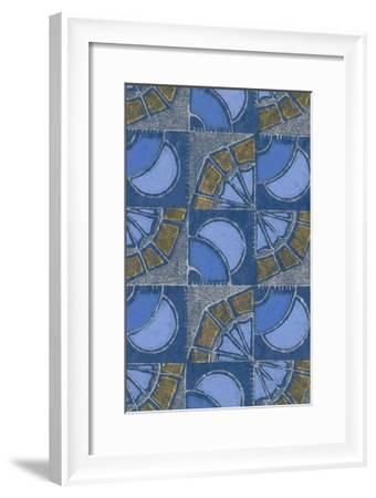 Patterned Squares of Blue and Gray-Found Image Press-Framed Giclee Print