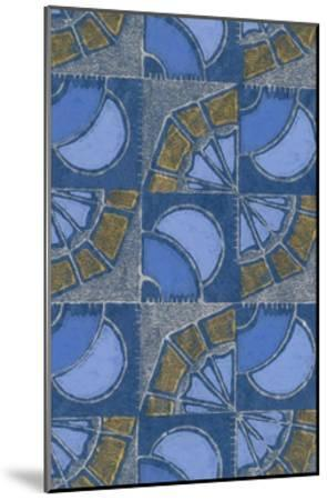Patterned Squares of Blue and Gray-Found Image Press-Mounted Giclee Print