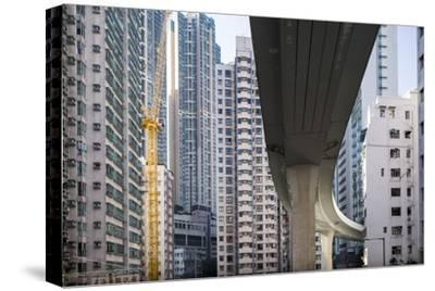 Highway Overpass and Apartment Towers, Hong Kong, China-Paul Souders-Stretched Canvas Print