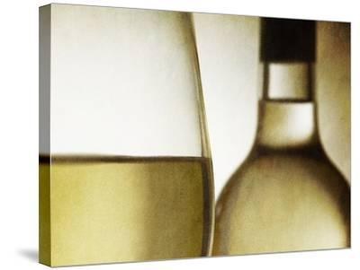 Glass of White Wine and Bottle-Steve Lupton-Stretched Canvas Print
