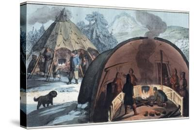 Interior of a Laplander Hut with a Family around the Fire-Stefano Bianchetti-Stretched Canvas Print