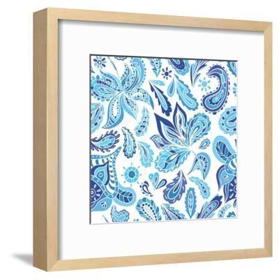 Blue Fresh Indian Vector Pattern-kisika-Framed Art Print