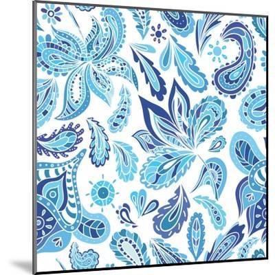 Blue Fresh Indian Vector Pattern-kisika-Mounted Art Print
