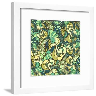 Vector Texture with Abstract Plants.-Marylia-Framed Art Print