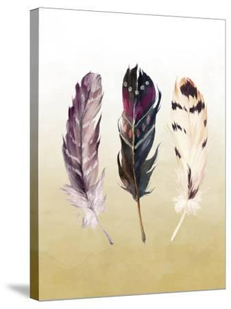 Feathers on Yellow-Tara Moss-Stretched Canvas Print