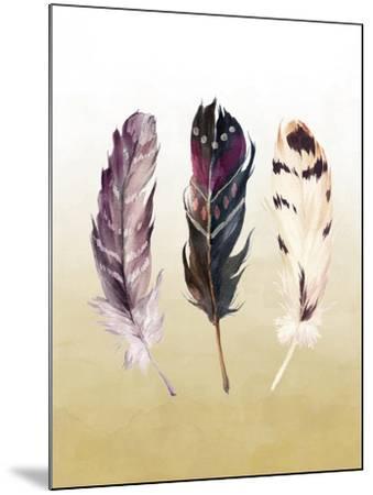 Feathers on Yellow-Tara Moss-Mounted Art Print