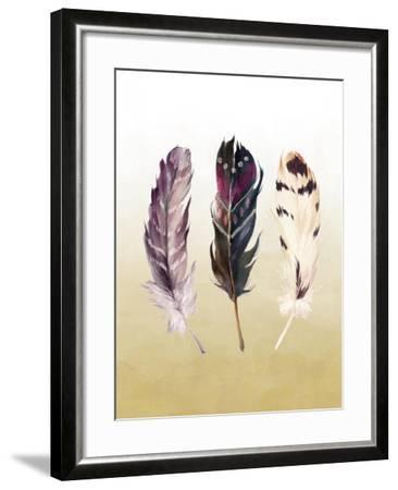 Feathers on Yellow-Tara Moss-Framed Art Print