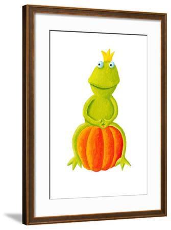 Frog Prince Sitting on Pumpkin-andreapetrlik-Framed Art Print