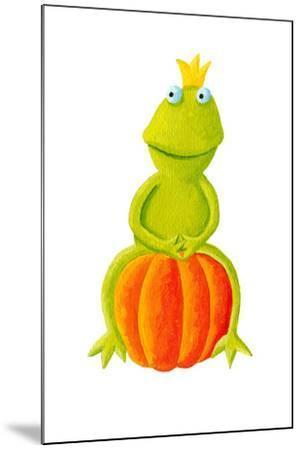 Frog Prince Sitting on Pumpkin-andreapetrlik-Mounted Art Print