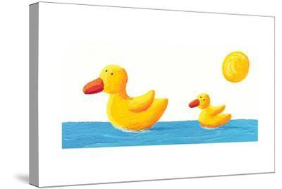 Mother and Baby Duck-andreapetrlik-Stretched Canvas Print