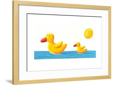 Mother and Baby Duck-andreapetrlik-Framed Art Print