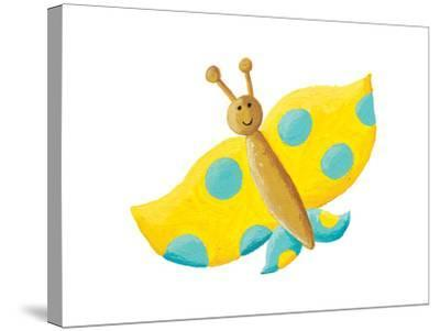 Cute Yellow Butterfly with Blue Dots-andreapetrlik-Stretched Canvas Print