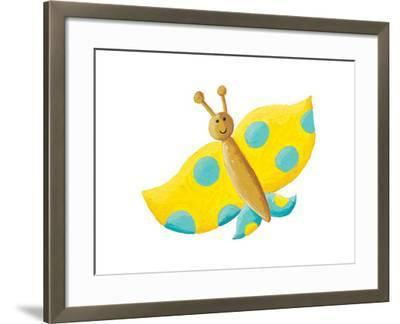Cute Yellow Butterfly with Blue Dots-andreapetrlik-Framed Art Print