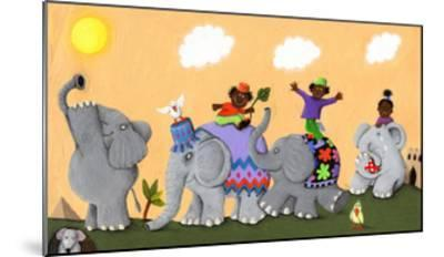Happy and Sad African Elephants and Children-andreapetrlik-Mounted Art Print