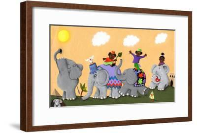 Happy and Sad African Elephants and Children-andreapetrlik-Framed Art Print