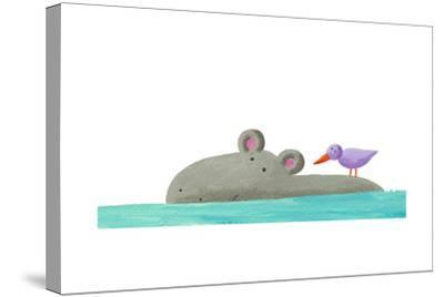 Funny Hippo Isolated-andreapetrlik-Stretched Canvas Print