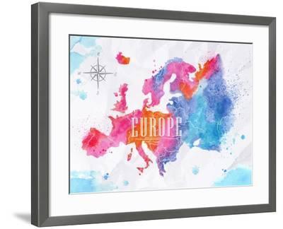 Watercolor Europe Map Pink Blue-anna42f-Framed Art Print