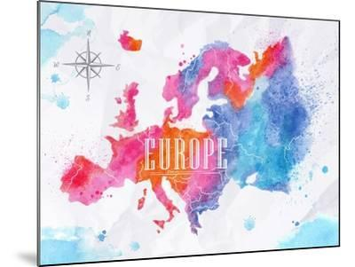 Watercolor Europe Map Pink Blue-anna42f-Mounted Art Print
