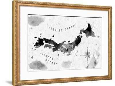 Ink Japan Map-anna42f-Framed Art Print