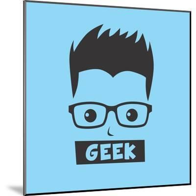 Geek Cartoon Character-vector1st-Mounted Art Print