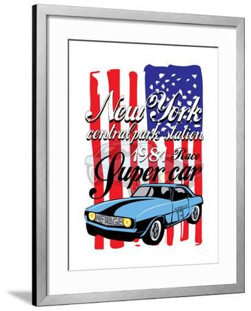 T-Shirt Graphics. Vintage Race Car for Printing.Vector Old School Race Poster.Retro Race Car Set.T--emeget-Framed Art Print