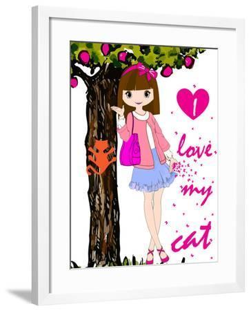 Kids Girl-emeget-Framed Art Print