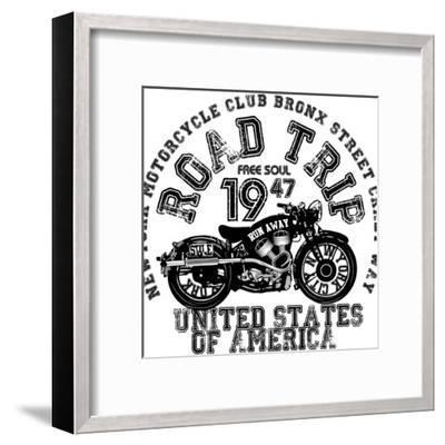 Vintage Motorcycle T-Shirt Graphic-emeget-Framed Art Print