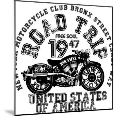 Vintage Motorcycle T-Shirt Graphic-emeget-Mounted Art Print