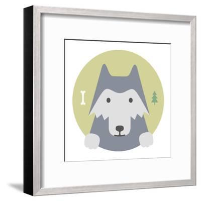 Animal Set. Portrait in Flat Graphics. Wolf-sonyakamoz-Framed Art Print