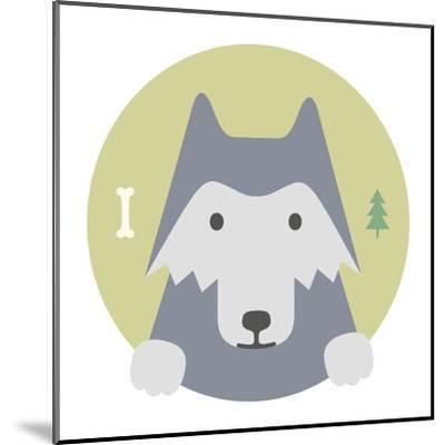 Animal Set. Portrait in Flat Graphics. Wolf-sonyakamoz-Mounted Art Print