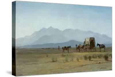 Surveyor's Wagon in the Rockies, C.1859 (Oil on Paper Mounted on Masonite)-Albert Bierstadt-Stretched Canvas Print