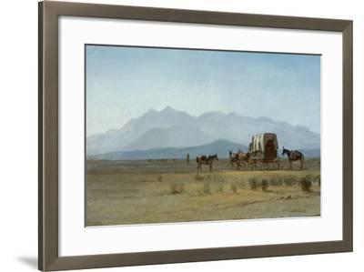 Surveyor's Wagon in the Rockies, C.1859 (Oil on Paper Mounted on Masonite)-Albert Bierstadt-Framed Giclee Print