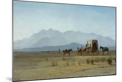 Surveyor's Wagon in the Rockies, C.1859 (Oil on Paper Mounted on Masonite)-Albert Bierstadt-Mounted Giclee Print