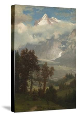 View of the Wetterhorn from the Valley of Grindelwald-Albert Bierstadt-Stretched Canvas Print