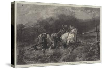 Horses Escaping from a Fire-Adolf Schreyer-Stretched Canvas Print