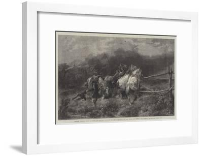 Horses Escaping from a Fire-Adolf Schreyer-Framed Giclee Print