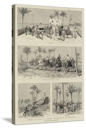 Sport in Egypt, a Ladies' Paper-Chase on Donkeys-Adrien Emmanuel Marie-Stretched Canvas Print