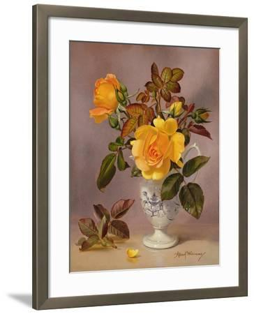 Orange Roses in a Blue and White Jug-Albert Williams-Framed Giclee Print