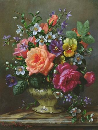 Roses and Pansies-Albert Williams-Framed Giclee Print
