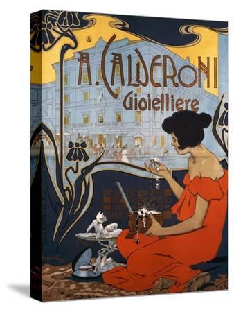 Advertising Poster for Calderoni Jewelers in Milan-Adolfo Hohenstein-Stretched Canvas Print