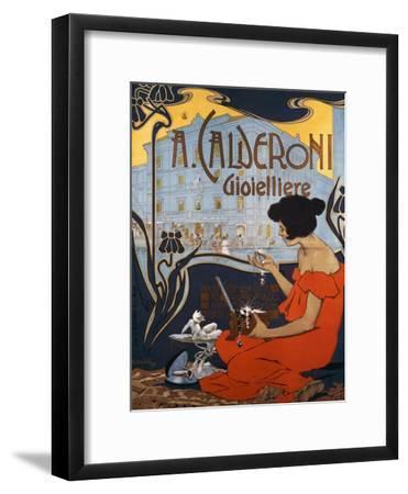 Advertising Poster for Calderoni Jewelers in Milan-Adolfo Hohenstein-Framed Giclee Print