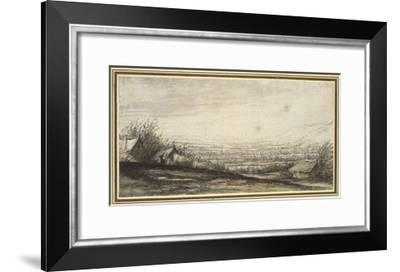 Extensive Landscape with Cottage and Cattle (Black Chalk, Grey and Yellow Wash)-Aelbert Cuyp-Framed Giclee Print